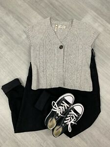 Ladies-Seasalt-100-Lambs-Wool-Cardigan-Short-Sleeve-Sz-14-Grey-Fashion-Button