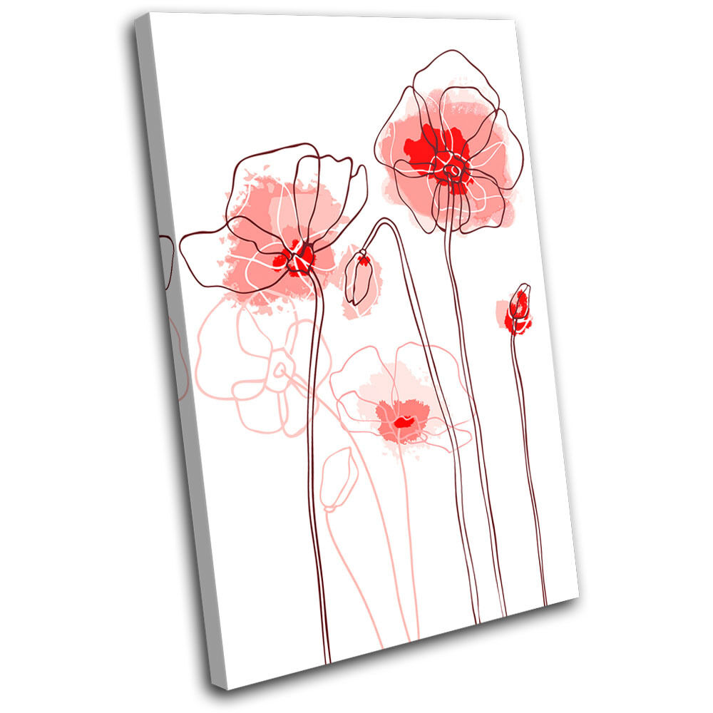 rouge Poppies Floral SINGLE TOILE murale ART Photo Print