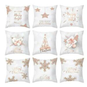 Christmas-Pillow-Case-Rose-Gold-Cushion-Cover-Home-Nice-Decor-Covers-45-45cm