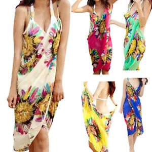 8f9a3b65539c7 Women Deep V Wrap Chiffon Swimwear Bikini Cover Up Sarong Summer ...
