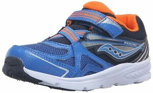 Kids Saucony Boys Ride Fabric Low Top   Walking, Blue/Orange, Size 5.0 u7uq