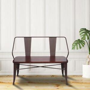 Patio Porch Garden Bench Iron Pine Outdoor Chair Love Seat 2 Persons Backyard US