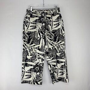 Chico-039-s-Womens-Capri-Pants-Cropped-Stretch-Hawaiian-Print-Black-Sz-1-5-Medium-10