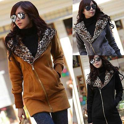 Women Hoodie Sweatshirt Leopard Tops Blouses Sweater Pullover Outerwear Coat