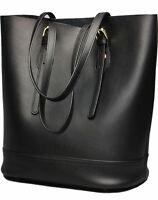 Women Tote Bag Genuine Real Leather Shoulder Bucket Bags Large Capacity [black]