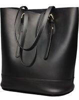 Women Tote Bag Genuine Real Leather Shoulder Bucket Bags Large Capacity [black]