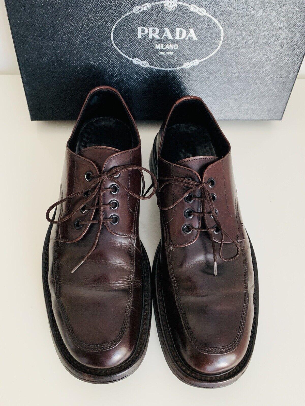 Prada Hombre Marrón Cuero Con Cordones Zapatos Talla  8.5