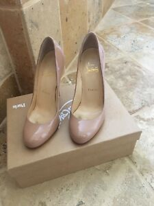bb1b00757767 Image is loading Christian-Louboutin-Nude-Patent-Leather-Pigalle-Pumps-Heels -