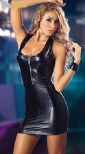Sexy Wetlook Vest Dress Clubwear Bodycon Dominatrix Faux Latex Spandex