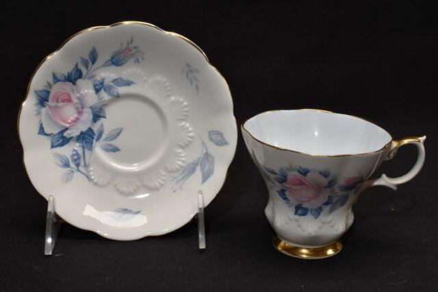 Royal Albert Pink & Blue Rose Lyric Shape Cup & Saucer