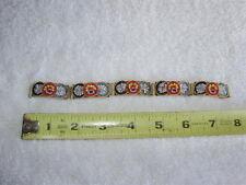 "Vintage Italian Italy Micro Mosaic Glass Tile Floral 5 Link 7 1/2"" Bracelet"