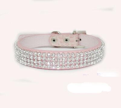 Croc Dog Cat Rhinestone Collars Crystal Diamond Pet Dog Puppy Pu Leather Collars