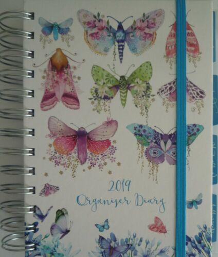 Feathers Butterflies Hardback Spiral 2019 Week 2 View Organiser Diary Art Deco