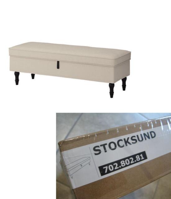 IKEA Stocksund Ottoman Cover Nolhaga Light Beige 002.802.89 Tan White Footstool