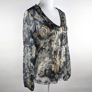 5b90a88cb0e6fd Elie Tahari XS V-Neck Sheer Silk Blouse Top Ruffle Neck Boho Paisley ...