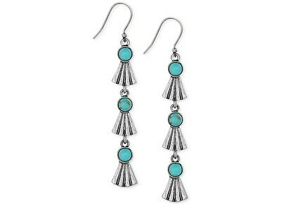 NWT Lucky Brand Silver-Tone Turquoise Stone Dangle Linear Earrings $35