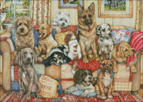 Gathering on the Couch Chart Counted Cross Stitch Pattern Needlework Xstitch
