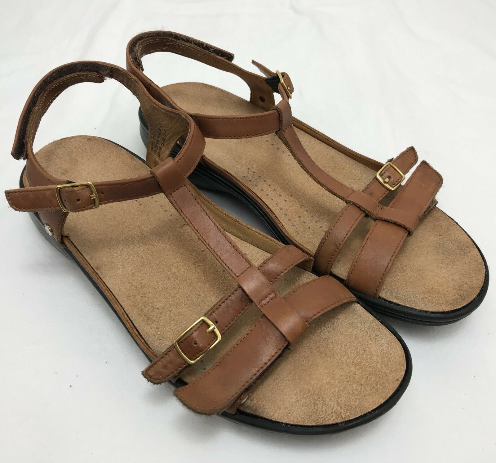 Womens REVERE 'Milan' Brown-Tan Leather Ankle Strap Sandals SIZE 41 US 10 (UK 8)