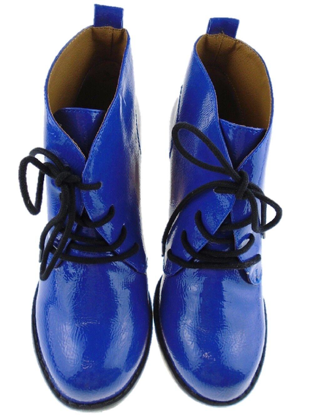 Ladies High Street BLUE Patent Naughty Monkey Ankle Boot Sizes UK 3 to UK 9 EU42