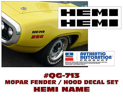 FENDER // HEMI DECALS ROAD RUNNER GTX PLYMOUTH GE-QG-713 DODGE CHARGER