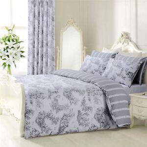 grau wei franz sisches toile gestreift wendebar doppelbett bettw sche ebay. Black Bedroom Furniture Sets. Home Design Ideas