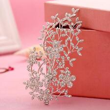 Shinning Flora Vine Rhinestone Beaded Bridal Headpieces Sliver Crystal Hair Clip