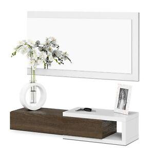 Recibidor-moderno-con-cajon-mas-espejo-color-Blanco-Brillo-y-Toscana-Noon