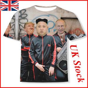 UK-Funny-3D-T-shirt-Putin-Donald-Trump-and-Kim-Jong-Un-Full-Print-Size-M-2XL