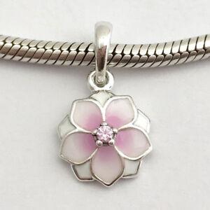 91473212c Image is loading Authentic-Pandora-Magnolia-Bloom-Dangle-Charm-Pink-Enamel-