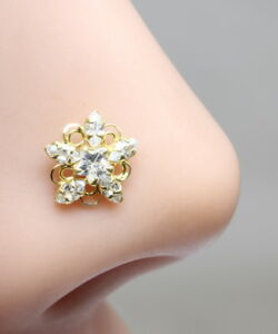 Real-Gold-Nose-Stud-14K-Yellow-Gold-Indian-Style-Piercing-Push-Pin-nose-ring-18g
