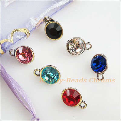 6Pcs Tibetan Silver Mixed Crystal Round Charms Pendants 9x13mm