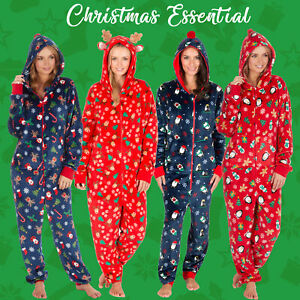 1Onesie-Ladies-All-In-One-Soft-Christmas-Jumpsuit-Playsuit-Hooded-Fleece-XS-XL
