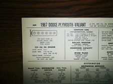 1967 Dodge Plymouth Valiant SIX Series Models 225 CI L6 w/o CAP Tune Up Chart