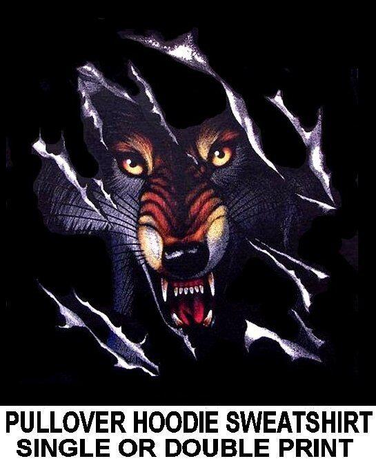 WILD WOLF TEARING SHIRT WEREWOLF WOLFMAN BIKER HOODIE PULLOVER SWEATSHIRT XT2