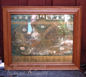 Framed blaeu wall map old new world gold foil two hemispheres image is loading framed blaeu wall map old amp new world gumiabroncs