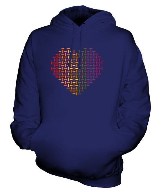 PATTERNED RAINBOW LOVE HEART UNISEX HOODIE TOP GIFT GAY LESBIAN