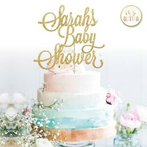 custom baby shower cake topper name personalised customised gold