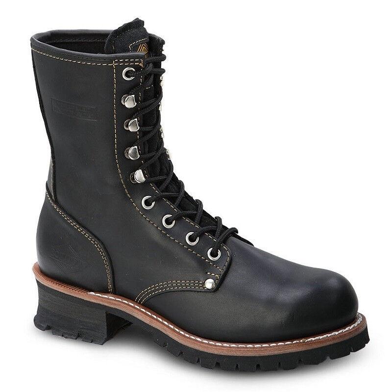 Para hombres Cuero Negro 9  Logger engrasado Puntera De Acero Trabajo botas BAT-901 (D, M)