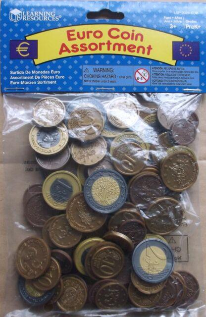 Lot de 100 Plastique Pièces en euro/Jouer de l'argent nouveau Maths School Learning Resource -
