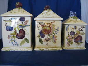 Image Is Loading Tuscan Kitchen Ceramic Square Canister Set Fruit Design