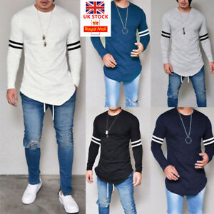 Mens-Casual-Long-Sleeve-T-Shirt-Muscle-Slim-Plain-Basic-Tee-Tops-Blouse-Pullover
