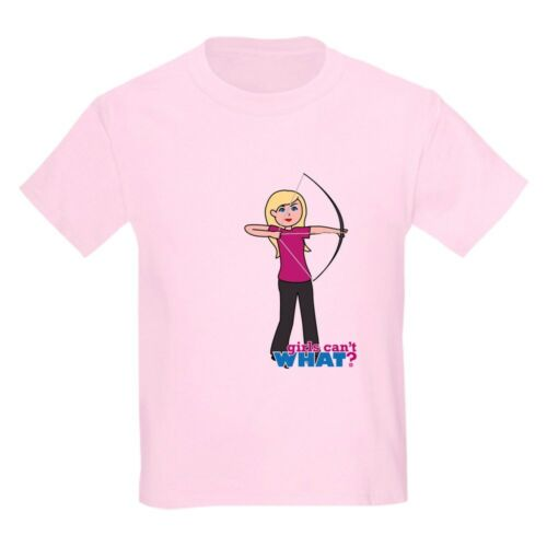 1213932314 CafePress Archery Girl Light//Blonde Kids Light T Shirt Kids T-Shirt