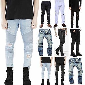 Mens-Trendy-Skinny-Stretch-Slim-Fit-Denim-Jeans-All-Waist-Biker-Trousers-Pants
