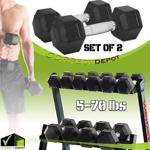 PAIR-RUBBER-COATED-HEX-Dumbbells-5-to-70LBS-Home-Gym-Fitness-Exercise-Workout