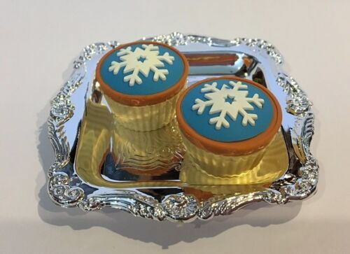 Snowflake Frozen Cupcakes with Silver Tray for American Girl Doll Food Accessory