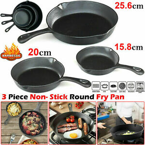 3Pcs Non-Stick CAST IRON Frying Griddle Pan Set Barbecue Grill Fry BBQ Skillet