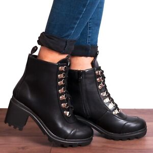 black ankle boots with gold block heel