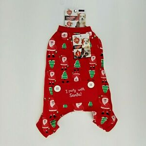 Puppy Dog Red Santa Christmas Tree Winter Pajamas XS