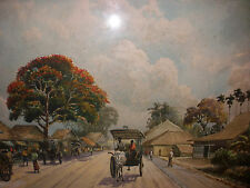 Vintage Asian or Philippine school village carriage people scene watercolor sign