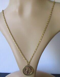 9ct Collar De Oro-Vintage 9ct Oro Amarillo Cadena Colgante Redondo San Cristóbal